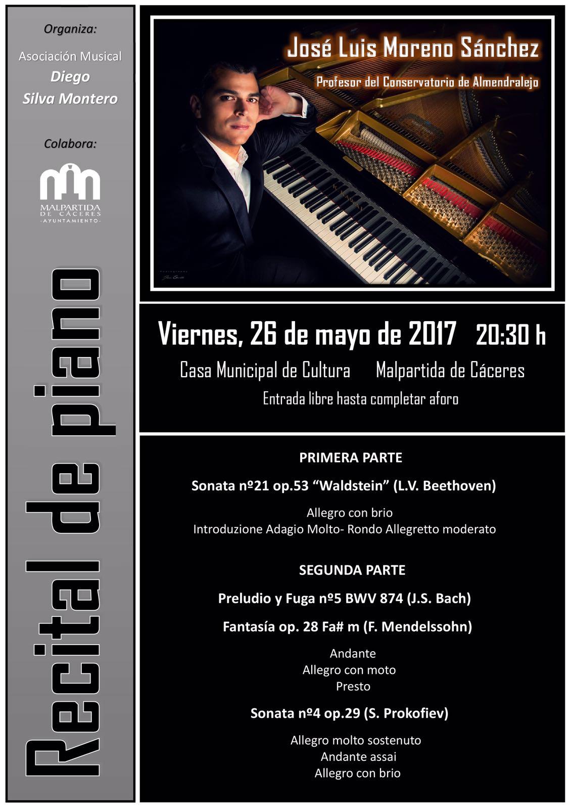 Recital de piano en Malpartida de Cáceres