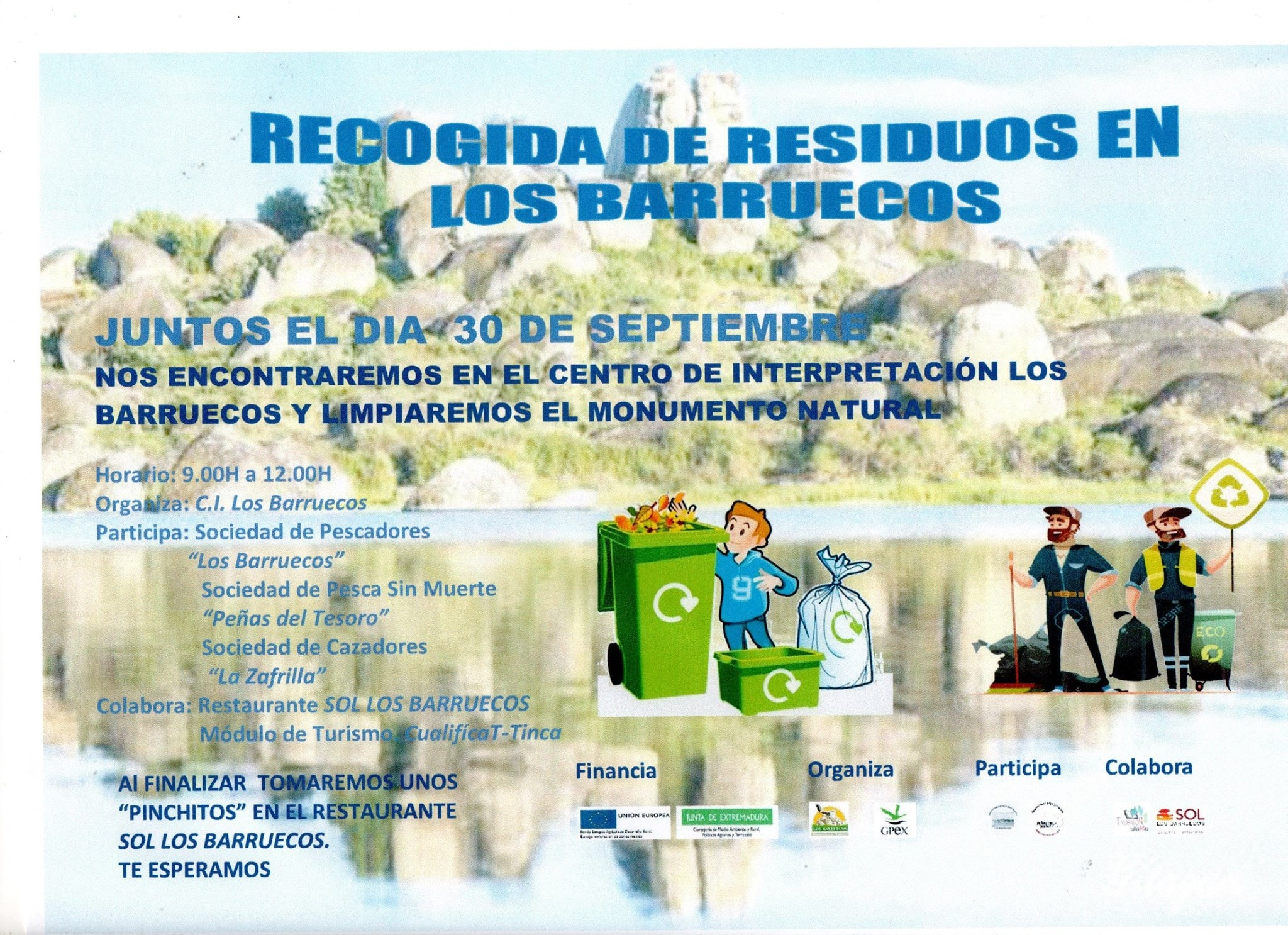 Recogida de residuos en los Barruecos, septiembre 2017