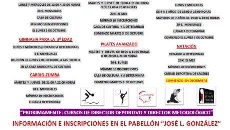 curos deportivos temporada 2017-2018 del Ayuntamiento de Malpartida de Cáceres