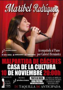 cartel Maribel Rodríguez en Malpartida de Cáceres