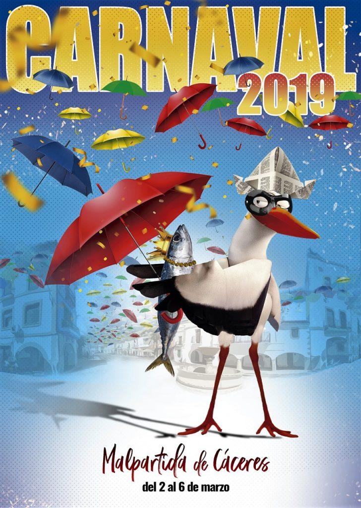 Cartel ganador del concurso de carteles de carnaval 2019 de Malpartida de Cáceres
