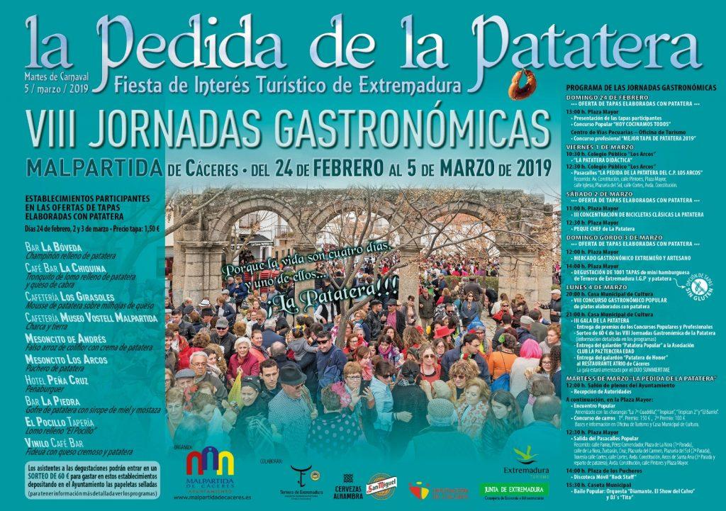 Cartel de las VIII Jornadas Gastronómicas y Pedida de la Patatera 2019