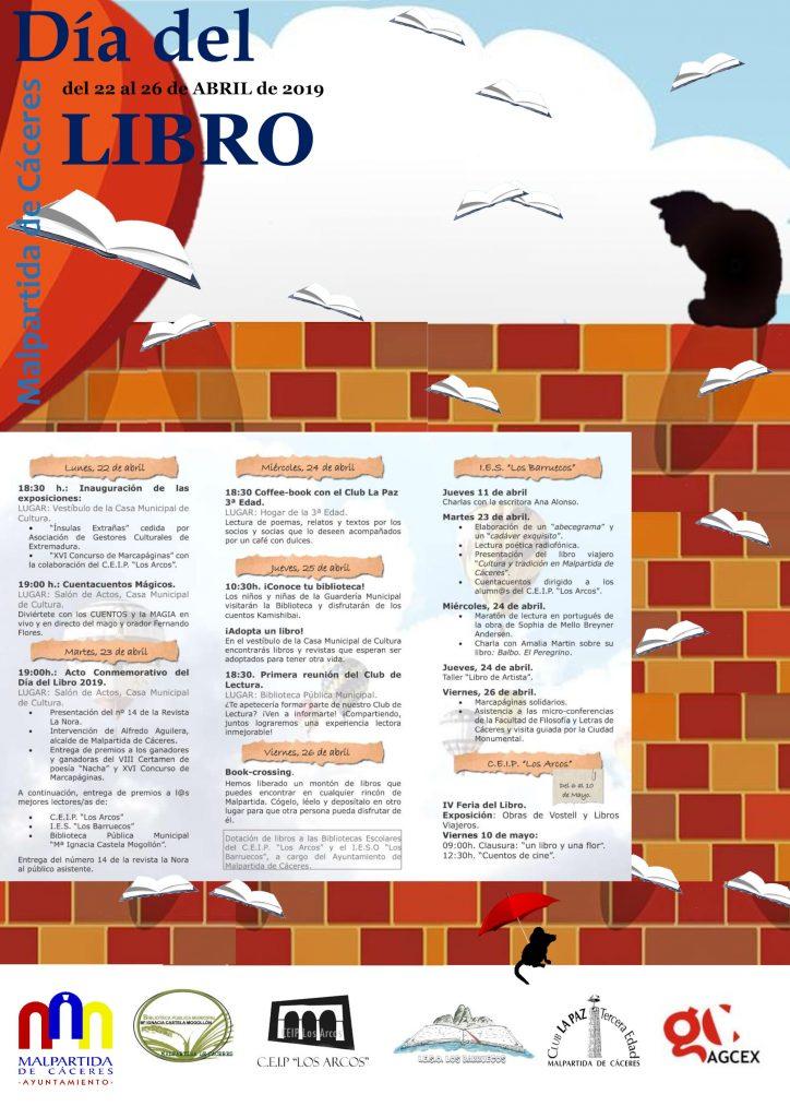 Cartel de la Semana del Libro 2019 de Malpartida de Cáceres