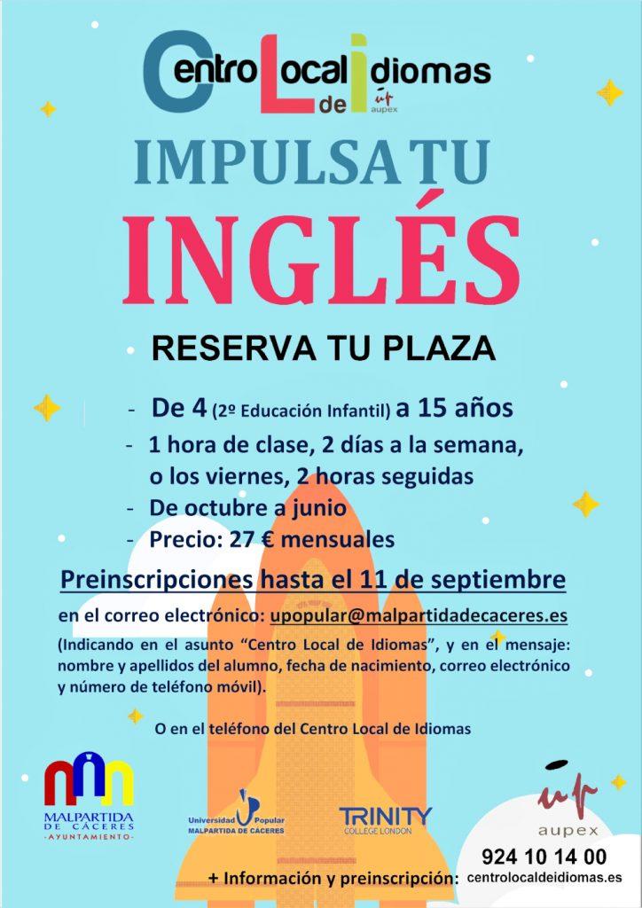 Cartel del Centro Local de Idiomas de Malpartida de Cáceres