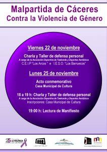 Actos con motivo de la celebración del Día contra la Violencia de Género en Malpartida de Cáceres