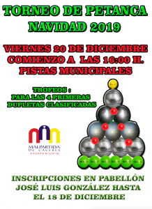 Cartel Torneo de Petanca Navidad 2019