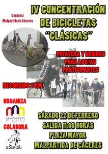 Cartel concentración de bicis clásicas 2020 Malpartida de Cáceres