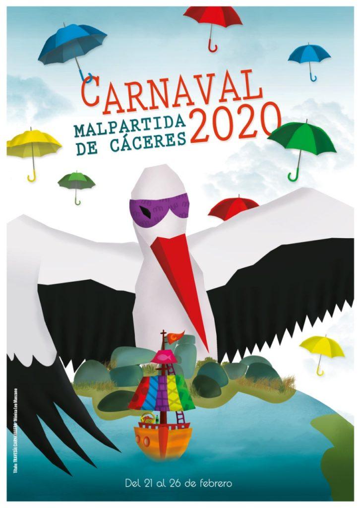 Cartel ganador del concurso de Carnaval 2020 Malpartida de Cáceres