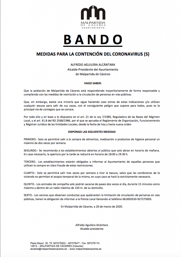 Bando 26 de marzo con motivo del Coronavirus en Malpartida de Cáceres