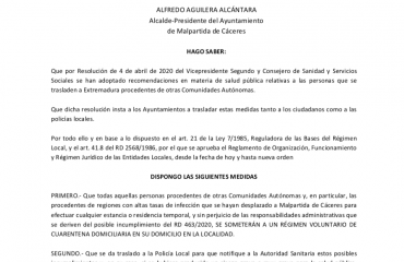 Bando Municipal Coronavirus en Malpartida de Cáceres